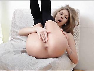 Making love appeal chick showing delights with the addition of caressing wet cunt