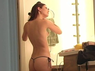 Longhaired sweetie is inserting banana beside will not hear of luscious snatch