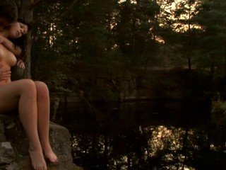 Check out a ardent forcible age teenager shafting scene outdoors during twilight