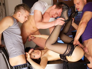 Lewd underware cooky campagna nylons Taissia gets released from on hardcore porno movie instalment straight away fucked by three dudes